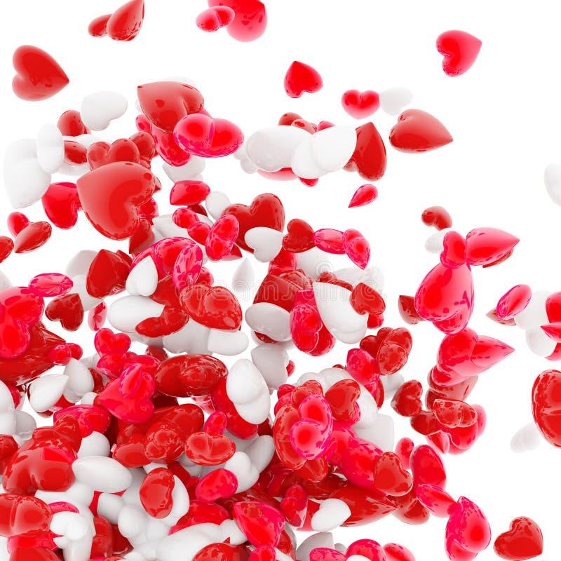Coeurs sur le blanc illustration stock