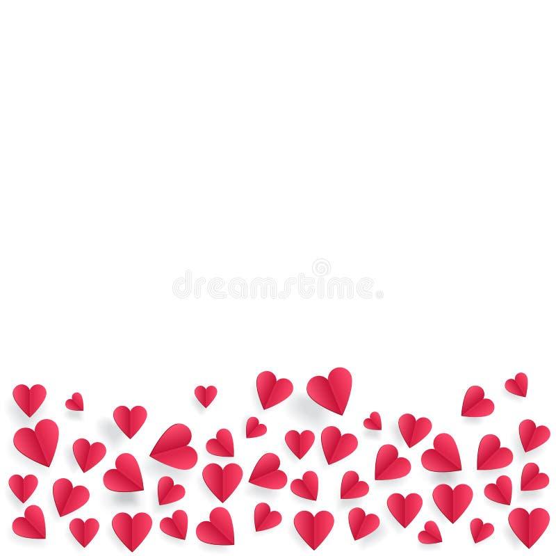 Coeurs sur le fond abstrait d'amour avec les coeurs coupés de papier illustration stock