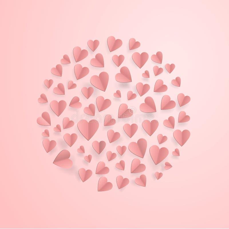 Coeurs sur le fond abstrait d'amour avec les coeurs coupés de papier illustration de vecteur