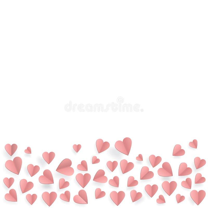Coeurs sur le fond abstrait d'amour avec les coeurs coupés de papier illustration libre de droits