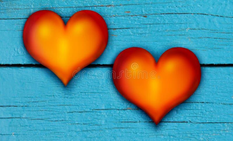 Coeurs sur planche en bois photographie stock