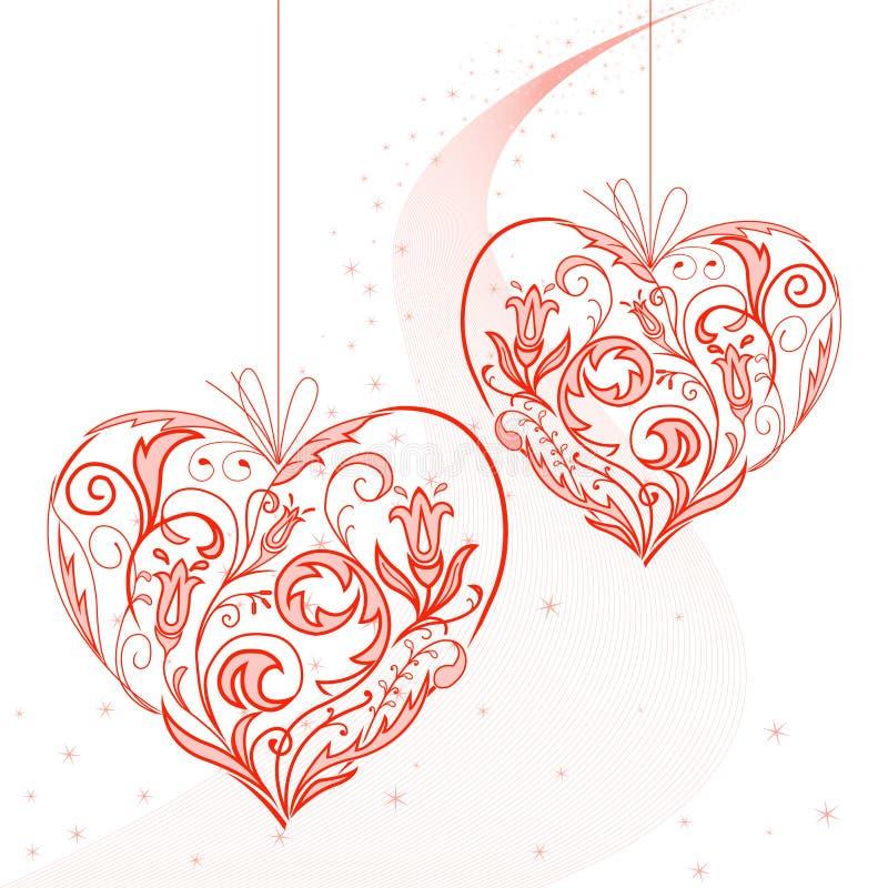 Coeurs sur une chaîne de caractères illustration de vecteur