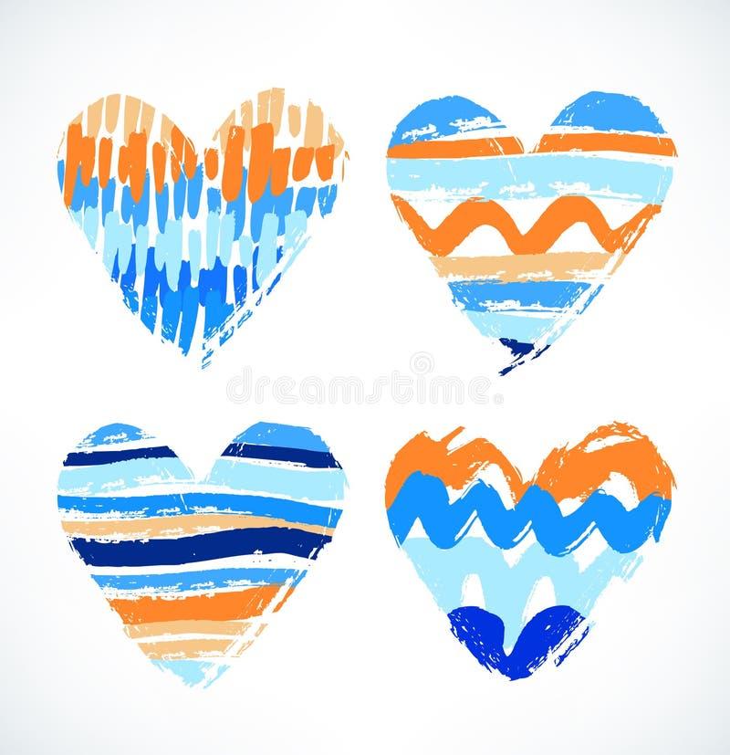 Coeurs Symbole dessiné par aquarelle de l'amour Coeurs rayés décoratifs avec différentes courses illustration stock