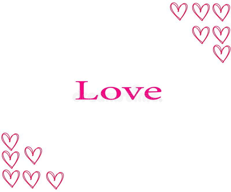 coeurs tirés de main jour du ` s de Valentine d'éléments L'inscription : J'aime le bonbon sur le fond avec des calomnies de jaune illustration libre de droits