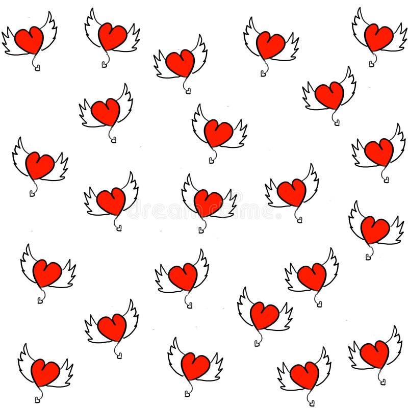 Coeurs tirés par la main avec le modèle sans couture d'ailes illustration stock