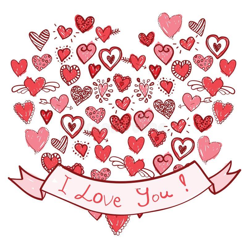 Coeurs tirés par la main avec le ruban je t'aime image libre de droits