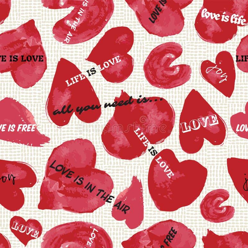 Coeurs tirés par la main d'aquarelle avec les citations d'amour et le fond texturisé Configuration sans joint de vecteur illustration de vecteur