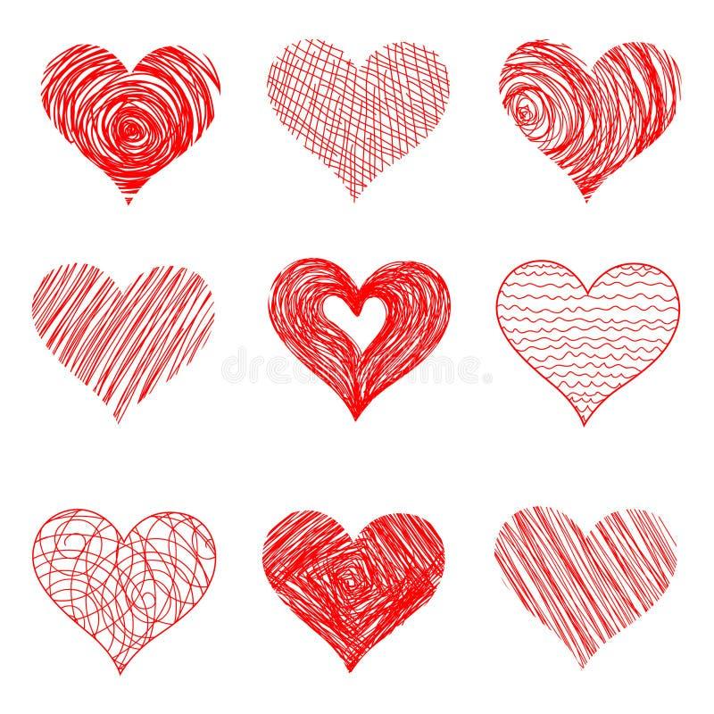 Coeurs tirés par la main de croquis pour la conception de jour de valentines illustration libre de droits