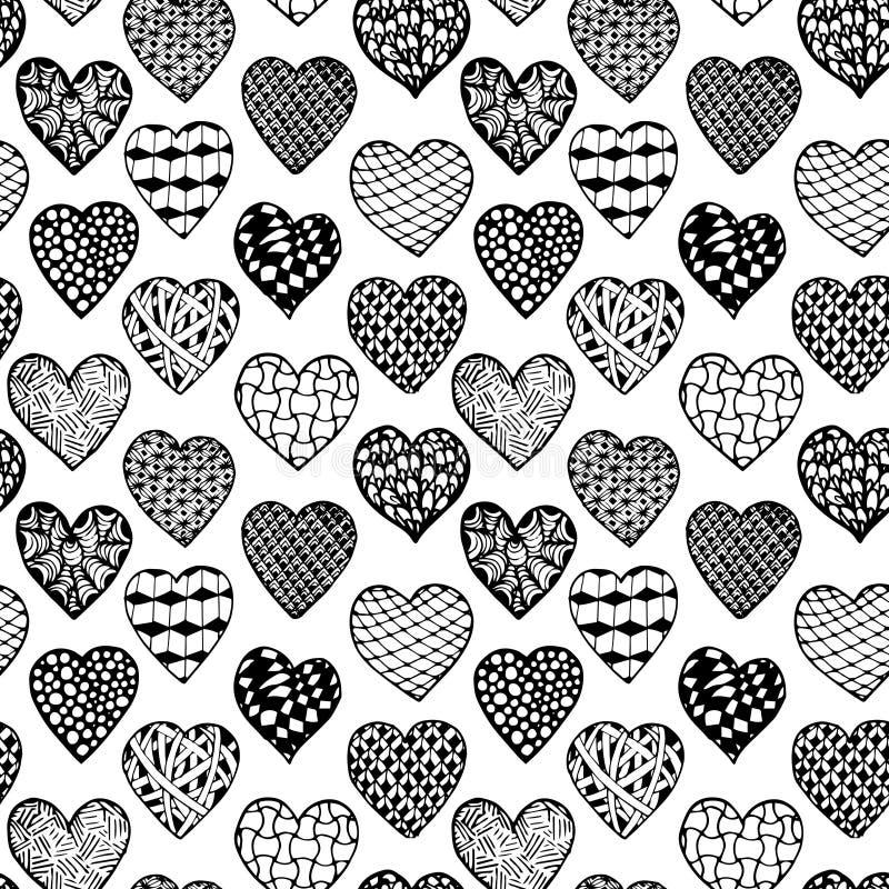Coeurs tirés par la main de fond sans couture noir et blanc illustration libre de droits