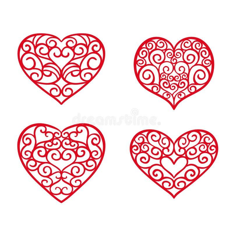 Coeurs tirés par la main réglés Éléments de conception pour le jour du ` s de Valentine illustration stock