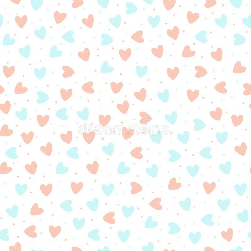 Coeurs tirés par la main répétés sur le fond blanc Configuration sans joint mignonne Copie romantique sans fin Illustration de ve illustration libre de droits