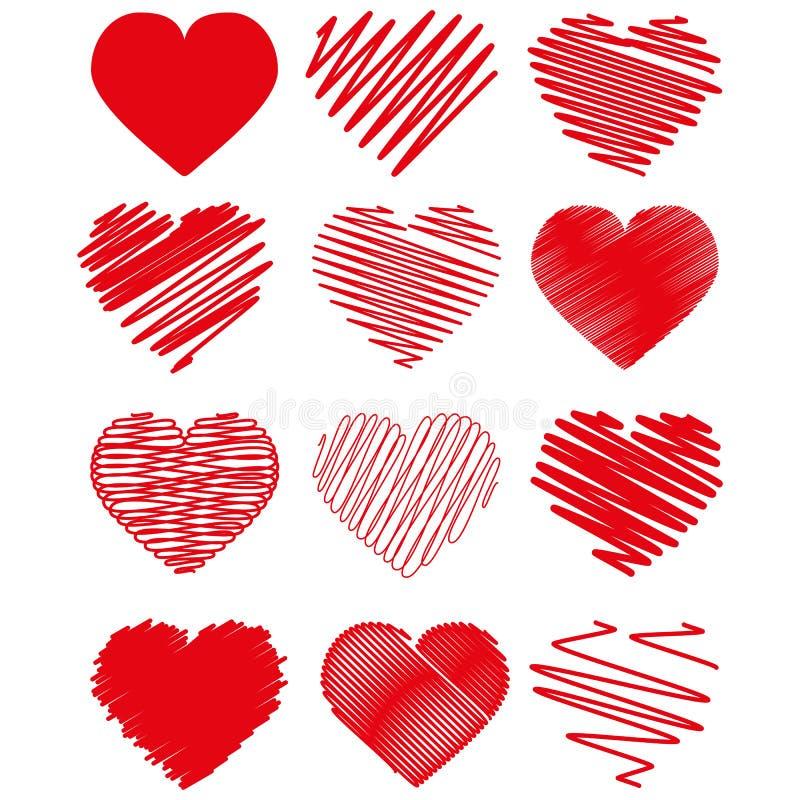 coeurs tir?s de main ?l?ments de conception pour le jour du ` s de Valentine illustration de vecteur