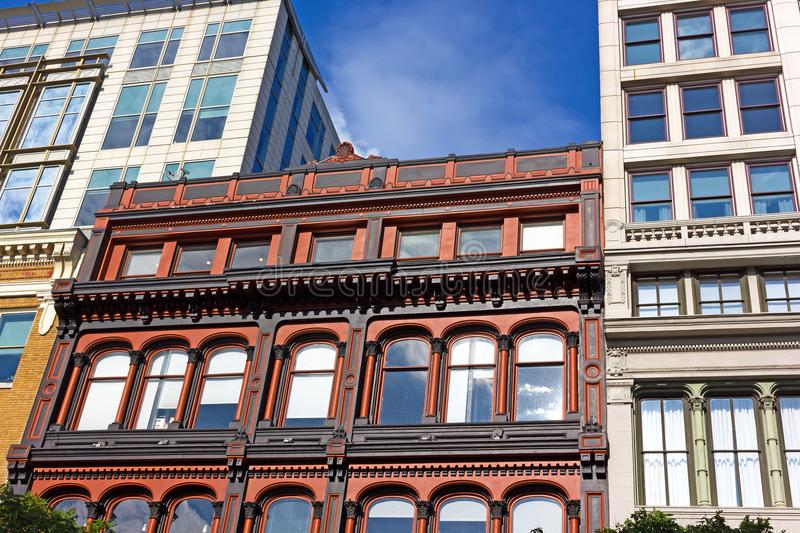 Coexistence of different styles of urban architecture of USA capital city. Modern buildings and historic architecture in Washington DC downtown, USA stock photos