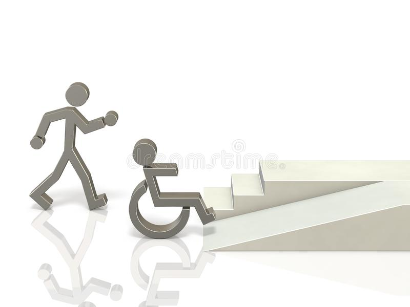 Coexistence of healthy and disabled people. vector illustration