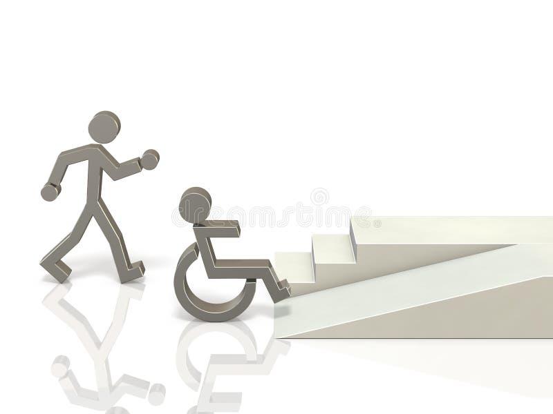 Coexistencia de sano y de personas discapacitadas ilustración del vector