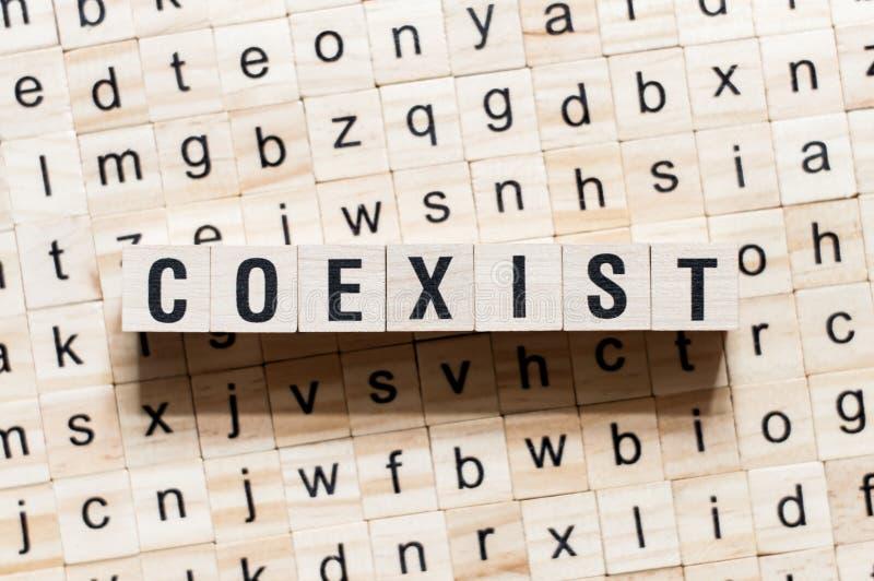 Coexistent le concept de mot sur des cubes image libre de droits