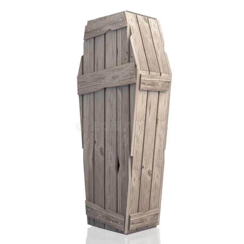 cofanetto di legno della bara 3D isolato su fondo bianco illustrazione di stock