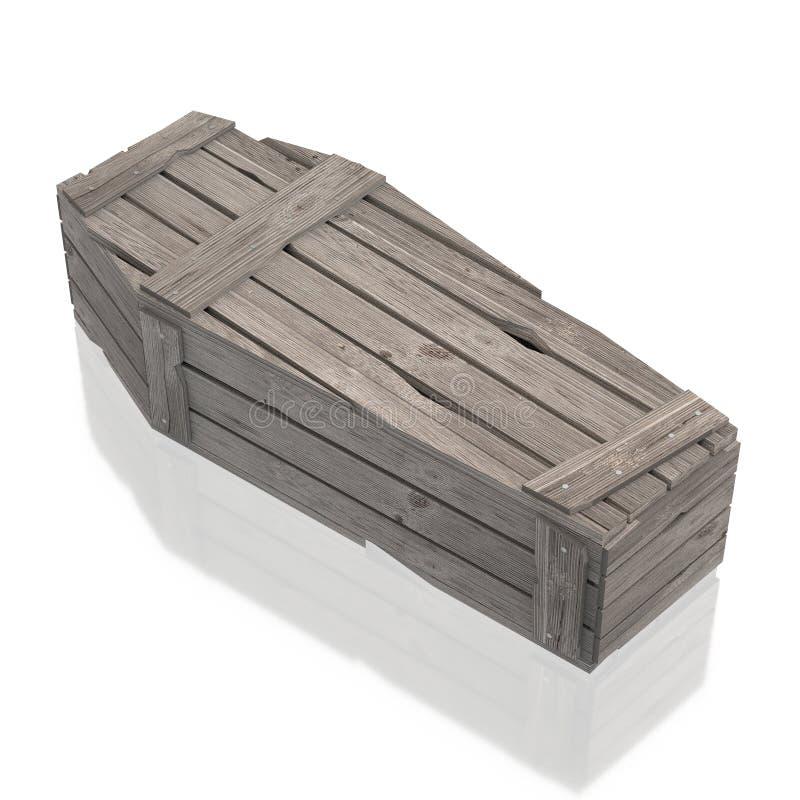 cofanetto di legno della bara 3D isolato su fondo bianco royalty illustrazione gratis