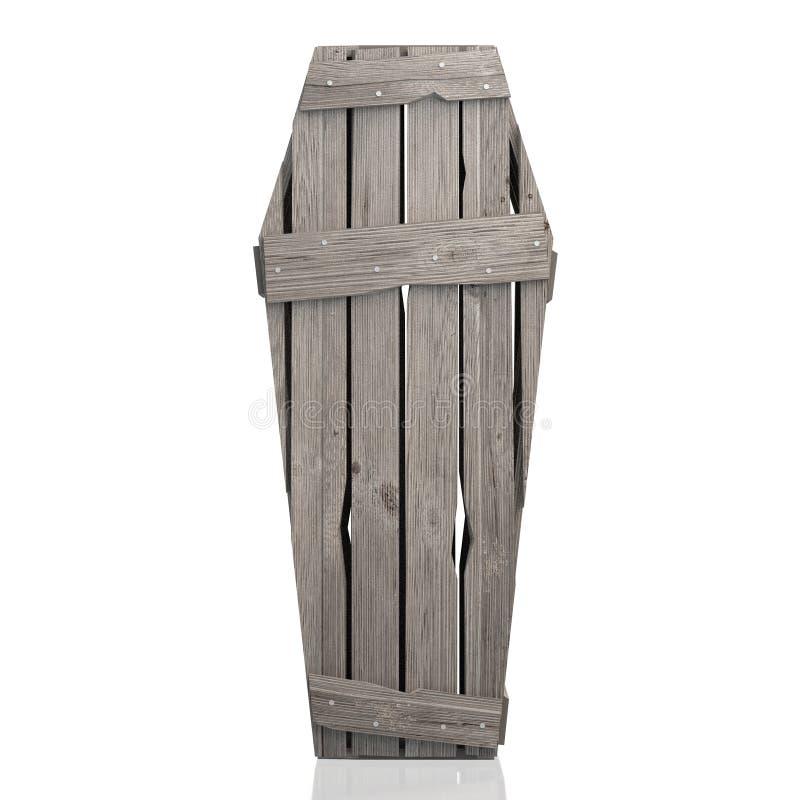 cofanetto di legno della bara 3D isolato su fondo bianco illustrazione vettoriale
