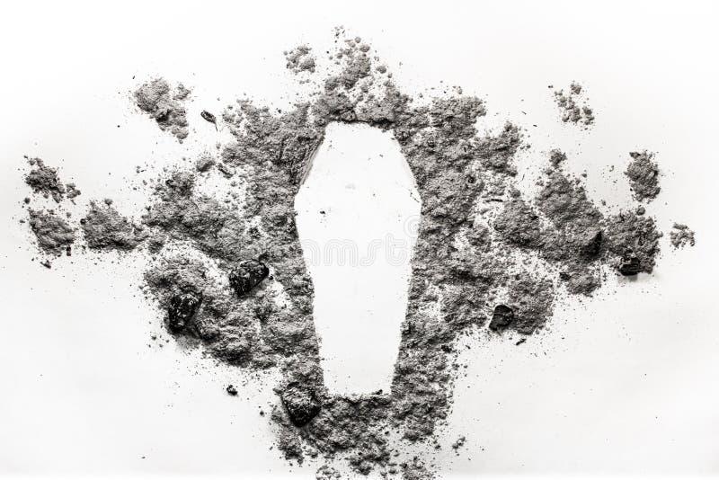 Cofanetto, siluetta della bara fatta in cenere, polvere come concetto dei deceas fotografie stock