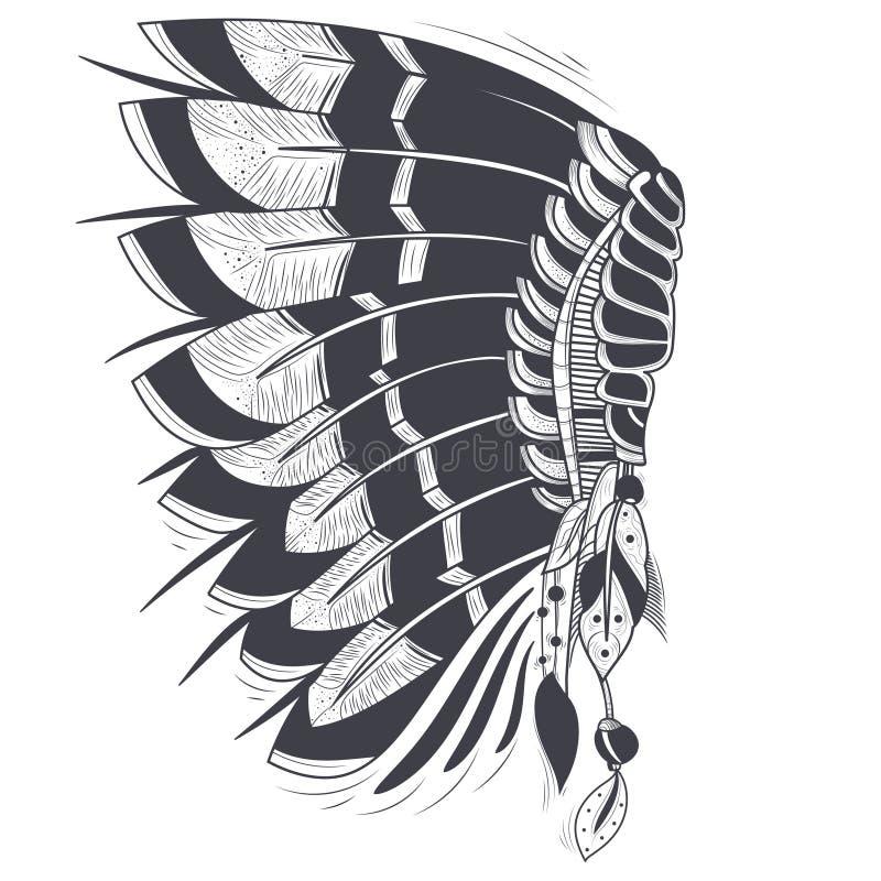Cofano di guerra di vettore degli indiani americani illustrazione vettoriale