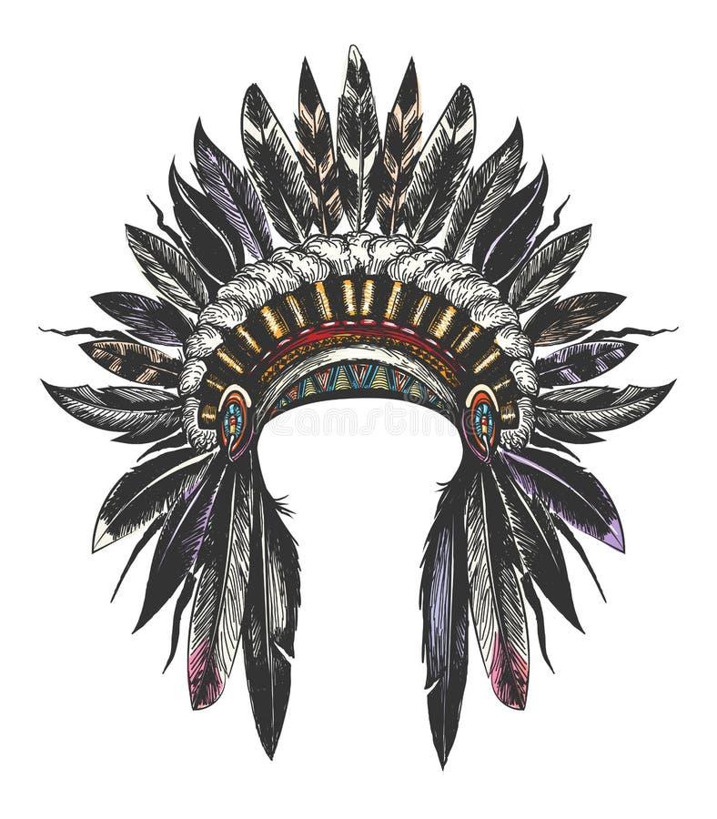 Cofano indiano di guerra del nativo americano illustrazione vettoriale