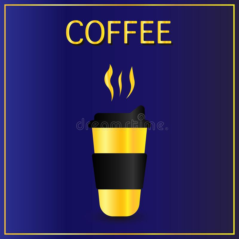 Cofee cup icon flat. Simple gold pictogram on dark blue background. Vector illustration symbol royalty free illustration