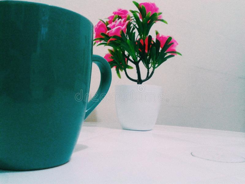 Cofee and flowers stock photography