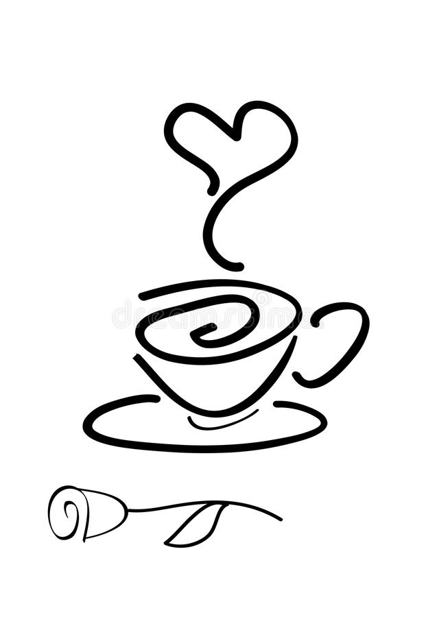 cofee konturu filiżanki róża prosta royalty ilustracja