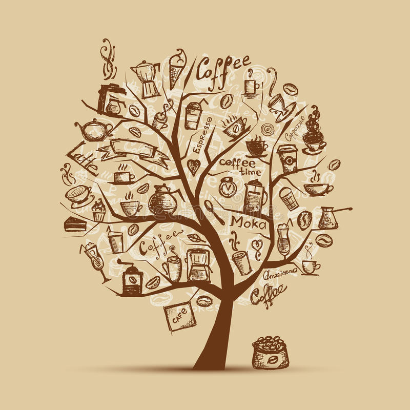 Free Cofee Time. Art Tree For Your Design Royalty Free Stock Image - 20886556