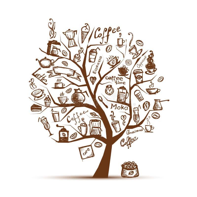 Cofee Zeit. Kunstbaum für Ihre Auslegung stock abbildung