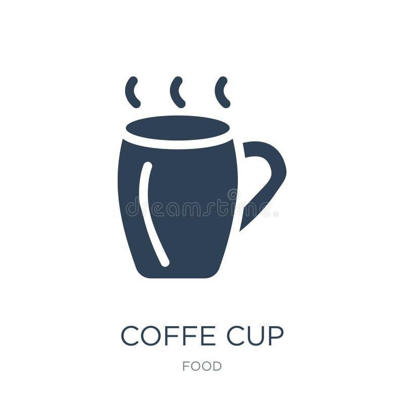 coffe在时髦设计样式的杯子象 Coffe在白色背景隔绝的杯子象 coffe杯子传染媒介象简单和现代舱内甲板 皇族释放例证