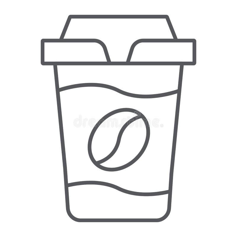 Coffe街道杯子稀薄的线象,咖啡和饮料,纸杯标志,向量图形,在白色的一个线性样式 库存例证