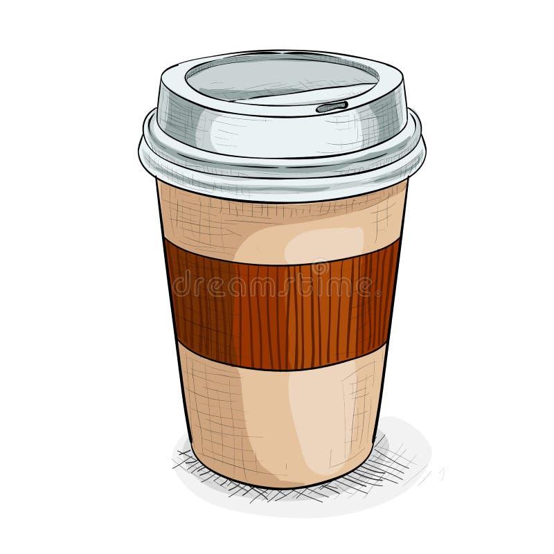 Coffe για να πάει εικόνα χρώματος ελεύθερη απεικόνιση δικαιώματος