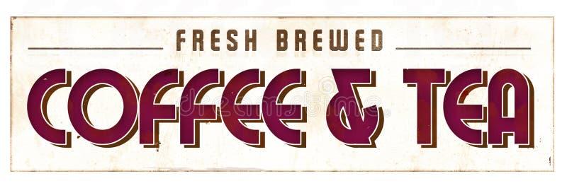 Coffe и знак чая ретро стоковая фотография rf