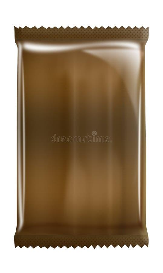 Coffe -巧克力-铝-在空白背景查出的金属袋子程序包 库存例证