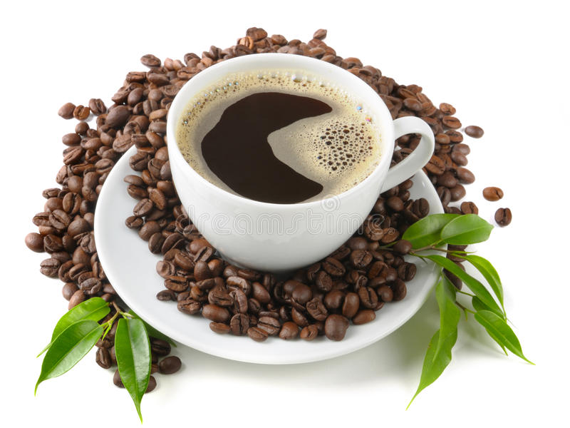 Coffe. E grains and  leaf royalty free stock images