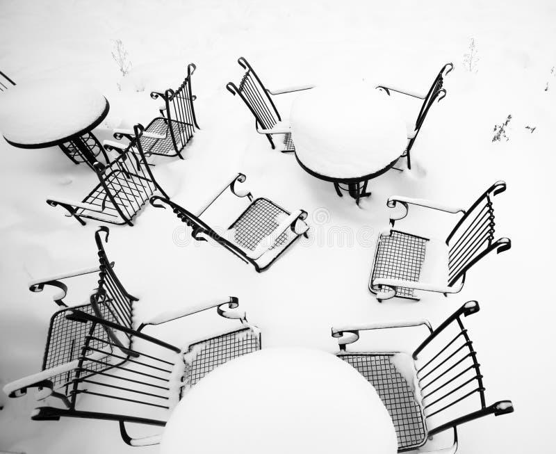Coffe au temps de neige image libre de droits