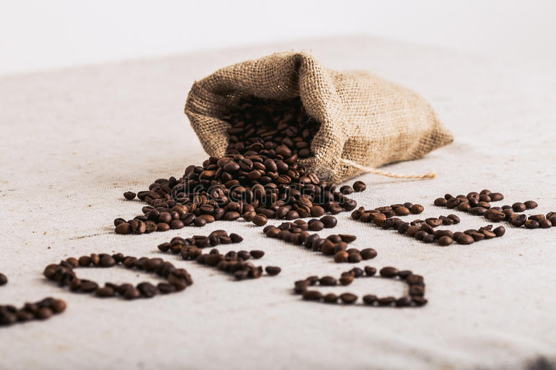 Coffe bean roasted, nice texture stock image