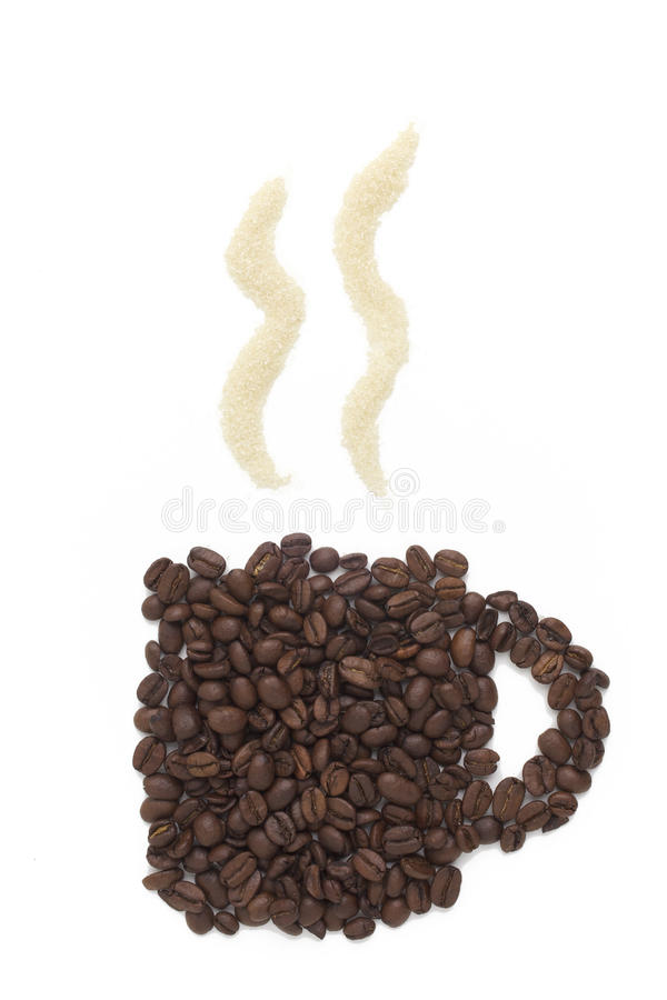 A coffe beans cup with brown sugar smoke stock image