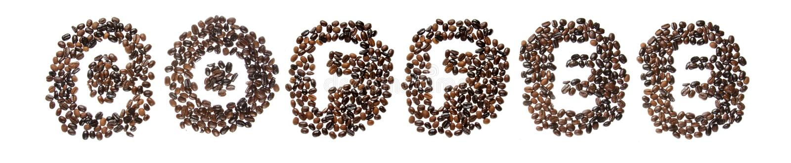 Coffe beans used to spell the word coffee