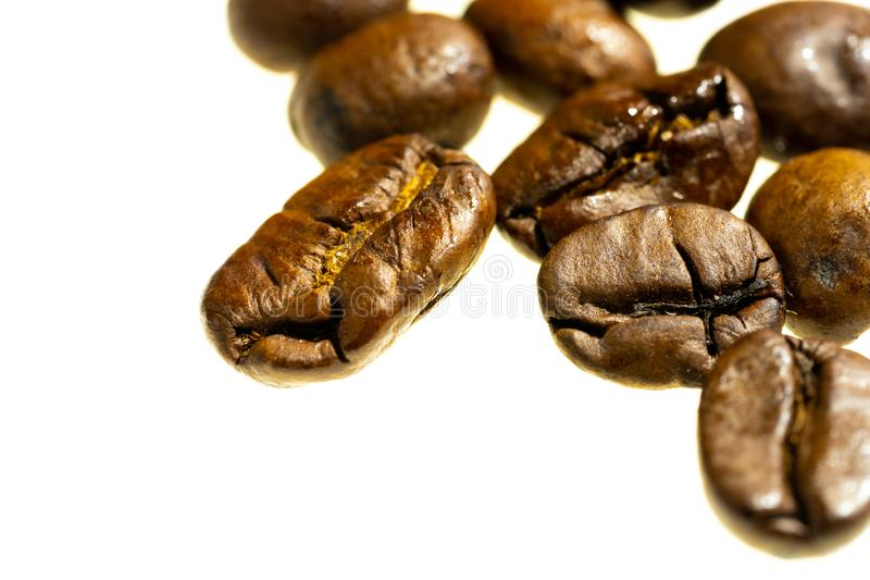 Coffe beans on white backgrouns isolated. Coffe beans white backgrouns isolated royalty free stock photo