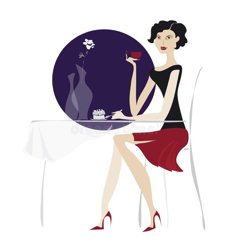 Download Coffe bebendo da menina ilustração stock. Ilustração de menina - 528408