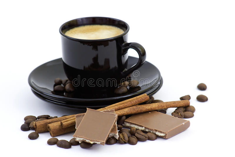 Coffe, cinnamon and chocolate royalty free stock photography