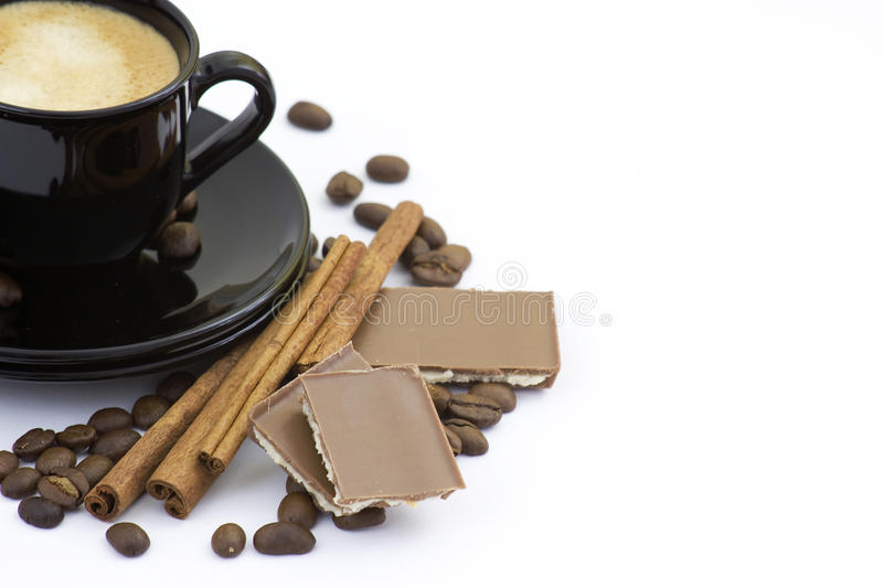 Coffe, cinnamon and chocolate royalty free stock images