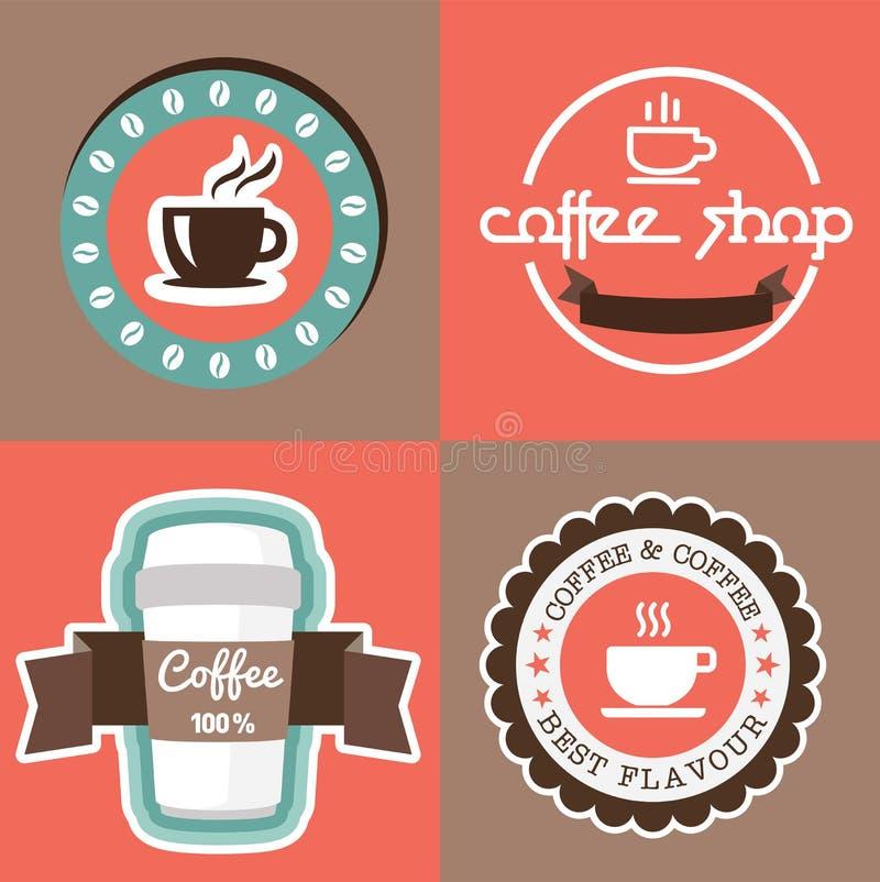 Coffe con progettazione del nastro dell'etichetta dell'insegna immagini stock