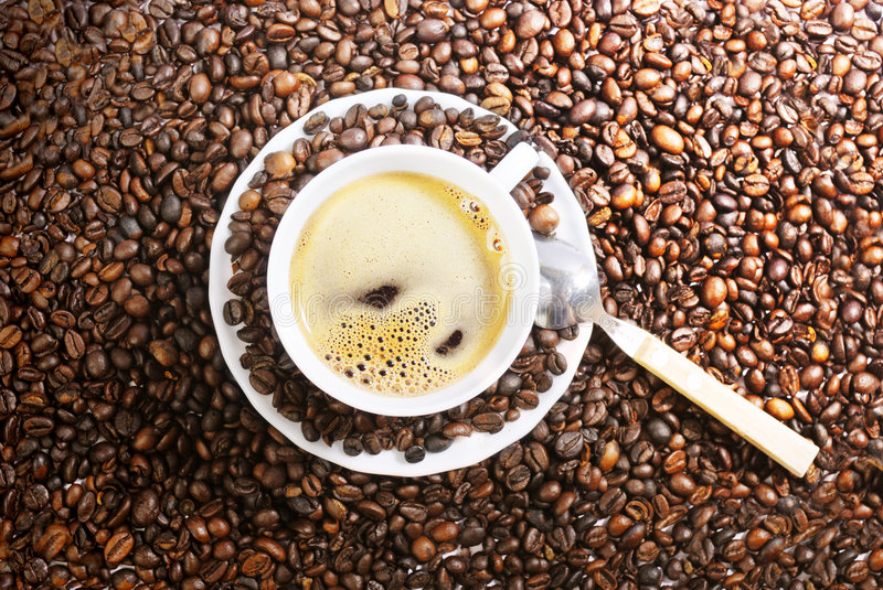 Coffe Cup. Cup of coffee with coffee grain stock photography