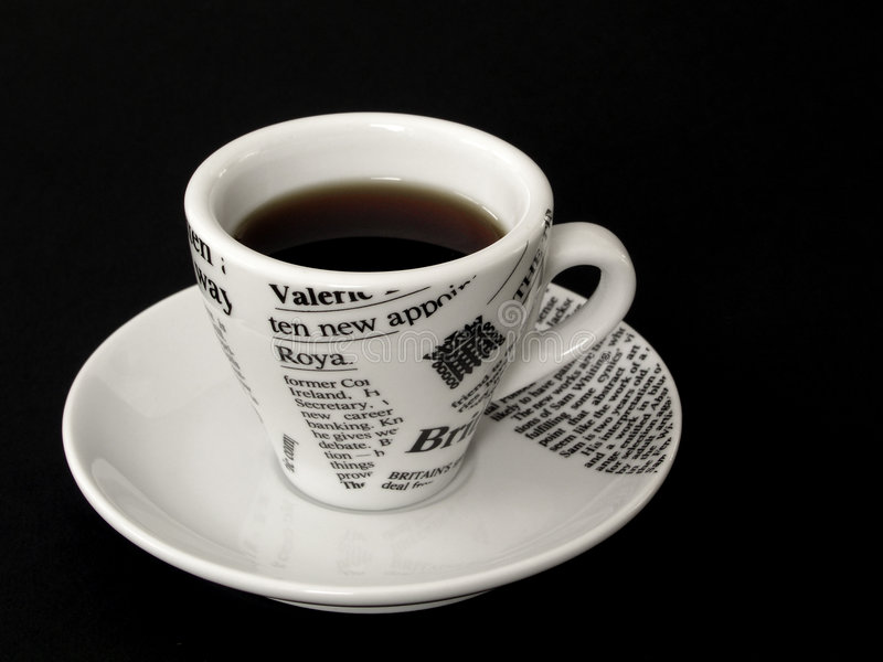 Coffe cup on black stock photos