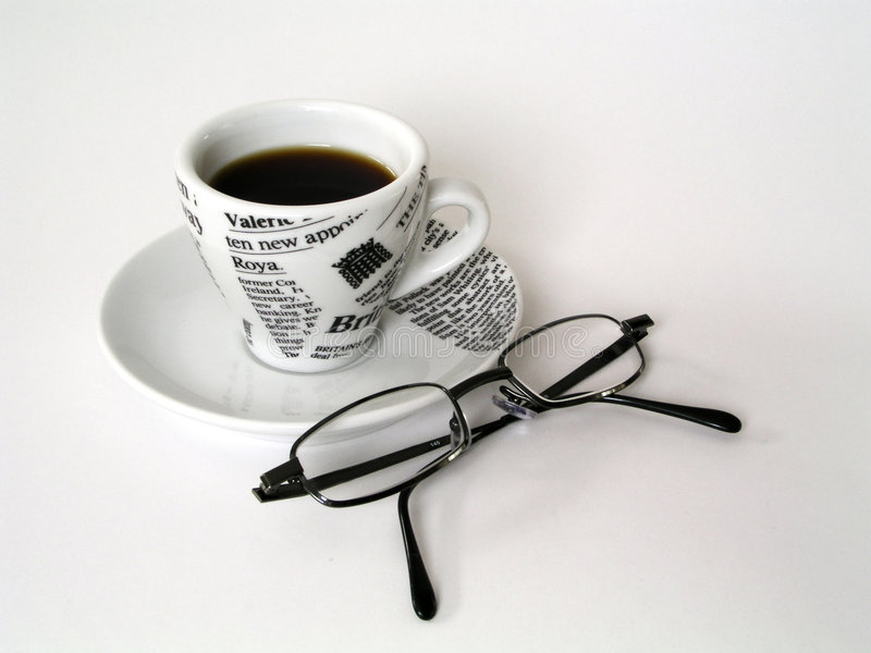 Coffe Cup with glasses stock images