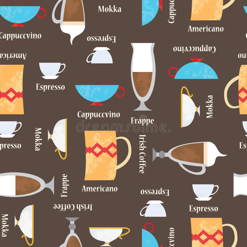 Coffe cups background. Seamless vector pattern royalty free illustration